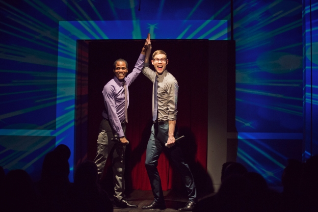 "Edgar Blackmon and Ross Bryant after performing their ""Struggle Rap."" /Photo by Clayton Hauck for Second City"