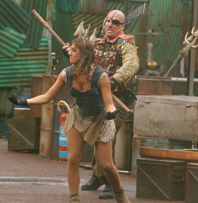 "Professional stunt performers Chris Nolte and Rebecca Vickers perform a scene in ""WaterWorld"" at Universal Studios Singapore. (Photo/Facebook)"