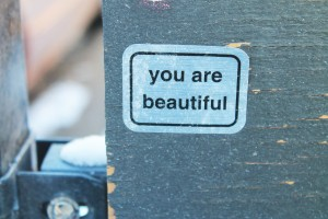 """You Are Beautiful"" sticker in Andersonville. (photo/Demetria Mosley)"
