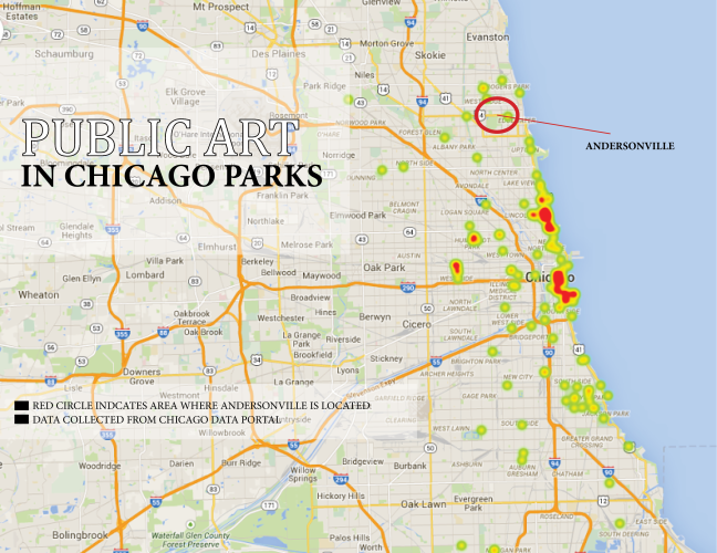 Locations of public art in Chicago parks. Source: City of Chicago Data Portal. (map/Demetria Mosley)