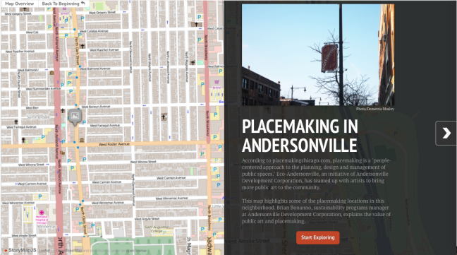 This map highlights public art and peacemaking locations in Andersonville.  http://s3.amazonaws.com/uploads.knightlab.com/storymapjs/107407ec9e8fffd2466822f33bb0ec20/placemaking-in-andersonville/index.html  (Map/Sadé Carpenter)